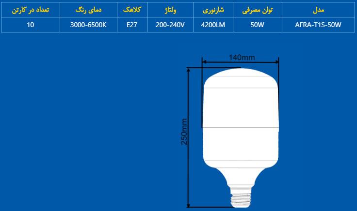 مشخصات فنی لامپ ال ای دی استوانه ای 50 وات افراتاب